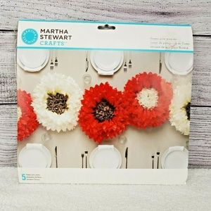 NEW Martha Stewart Crafts 5 Flower Pom-Pom Kit Red